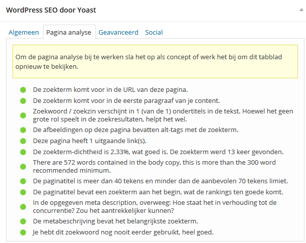 Pagina Analyse in WordPress SEO by Yoast