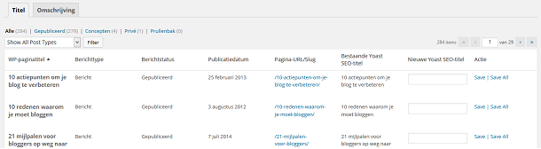Bulk Editor in de WordPress SEO plugin van Yoast