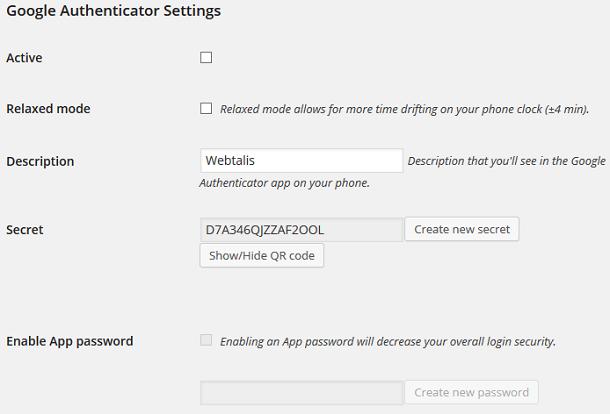 Google authenticator instellingen