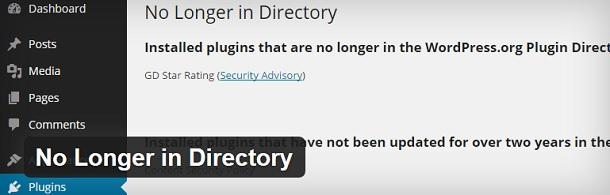 No Longer in Directory WordPress plugin