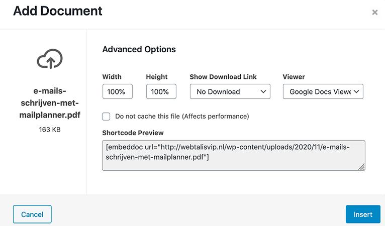 PDF insluiten in WordPress