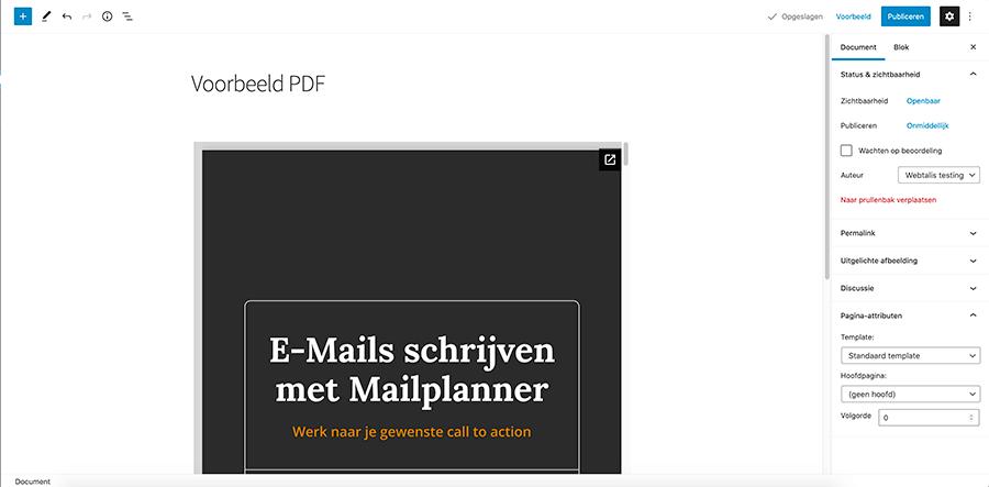 Voorbeeld ingesloten PDF in WordPress