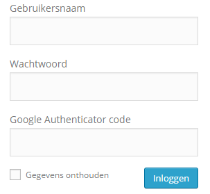 WordPress inlogpagina met Google Authenticator code