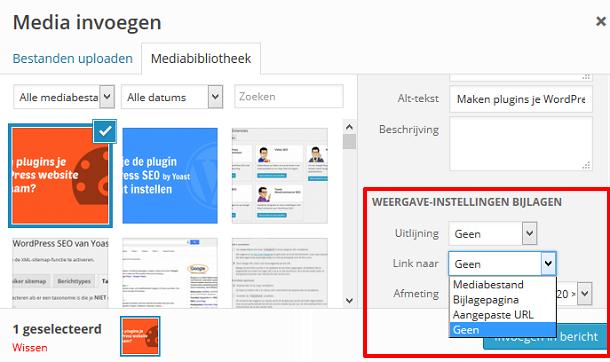 WordPress afbeelding zonder link invoegen