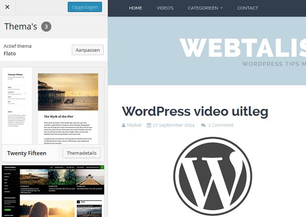 WordPress thema customizer