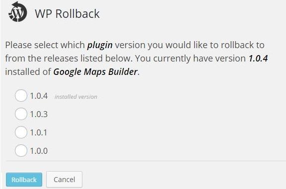 WP Rollback versie uitkiezen