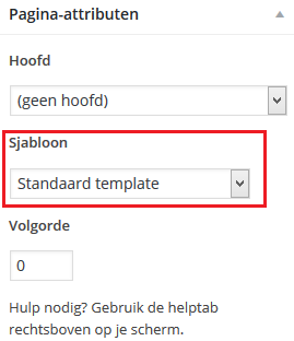 Sjabloon kiezen in WordPress