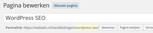 Slug in WordPress permalink