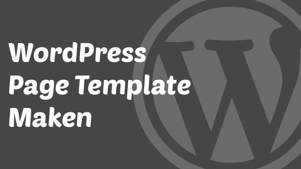 WordPress page template maken