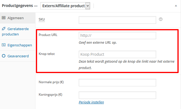 Affiliate URL toevoegen in WooCommerce