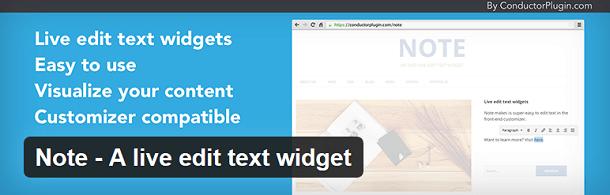Note - live edit text widget