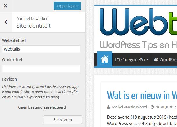 Favicon toevoegen in WordPress