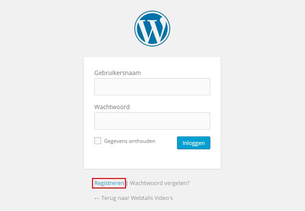 Registreer mogelijkheid in WordPress