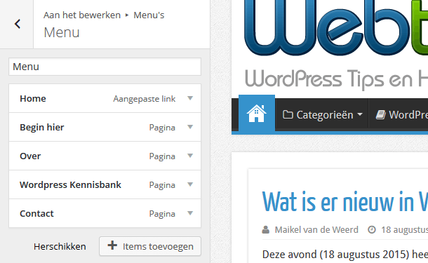 WordPress menu in customizer