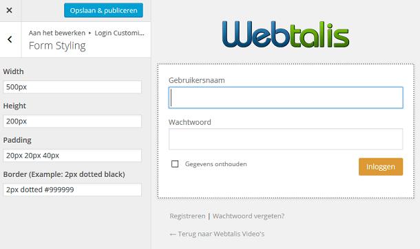 WordPress inlogformulier aanpassen