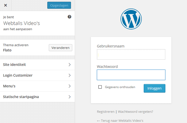 WordPress inlogpagina aanpassen in de customizer