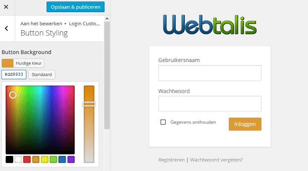Kleuren wijzigen van de WordPress inlogpagina