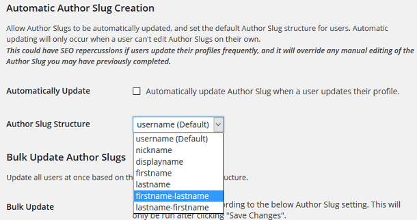 Automatic author slug creation