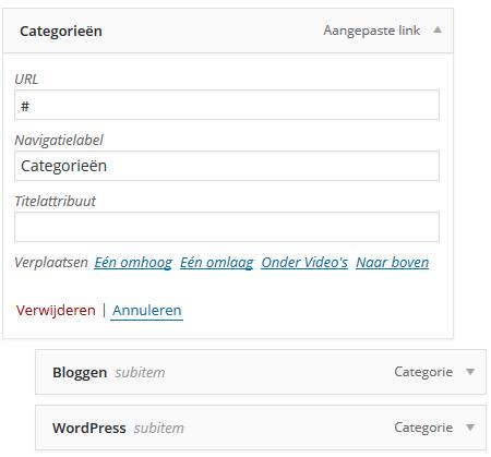Niet klikbare menulink maken in WordPress