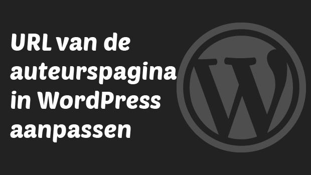 URL van de auteurspagina in WordPress aanpassen