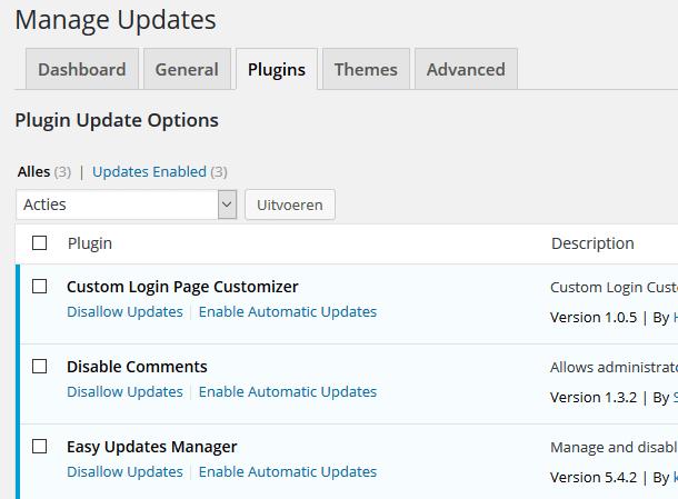 Plugin updates instellingen in WordPress