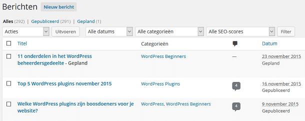 WordPress berichtenoverzicht