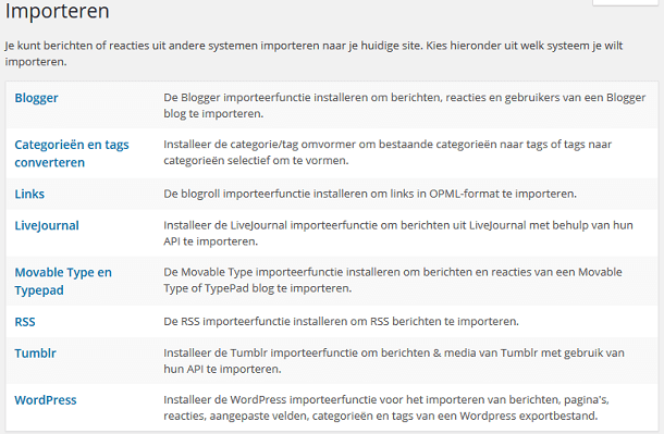 WordPress extra importeren