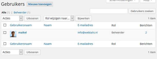 WordPress gebruikersoverzicht