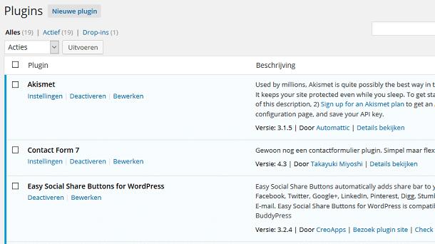WordPress plugin overzicht