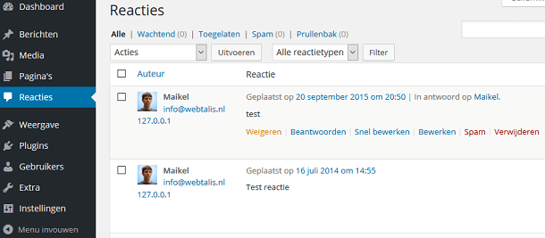 WordPress reactieoverzicht