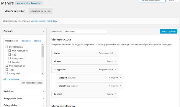 WordPress weergave menu