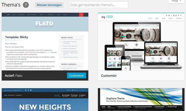 WordPress weergave thema's