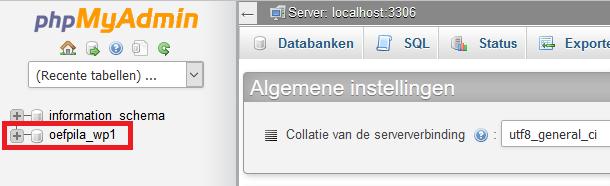 Database selecteren in phpMyAdmin