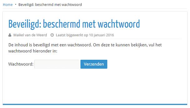 WordPress pagina beschermd met wachtwoord