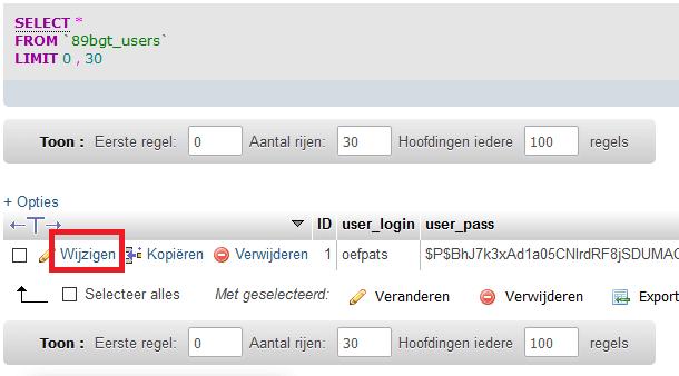 phpMyAdmin gebruiker wijzigen