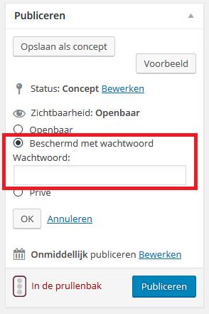 WordPress beschermd met wachtwoord