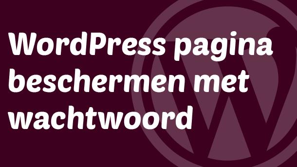 WordPress pagina beschermen met wachtwoord