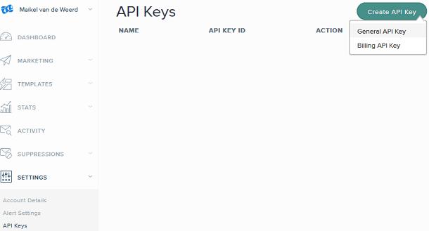 SendGrid general API key