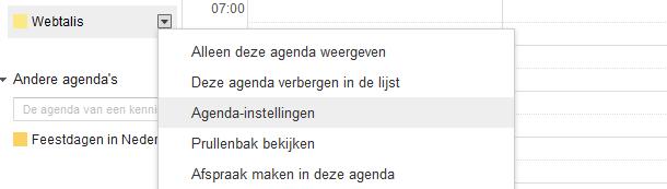 Google agenda instellingen