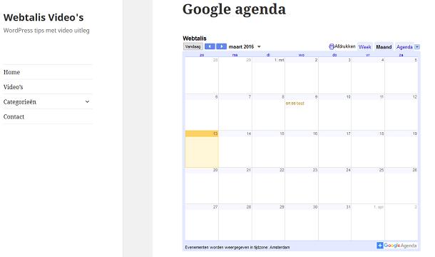Google agenda voor WordPress