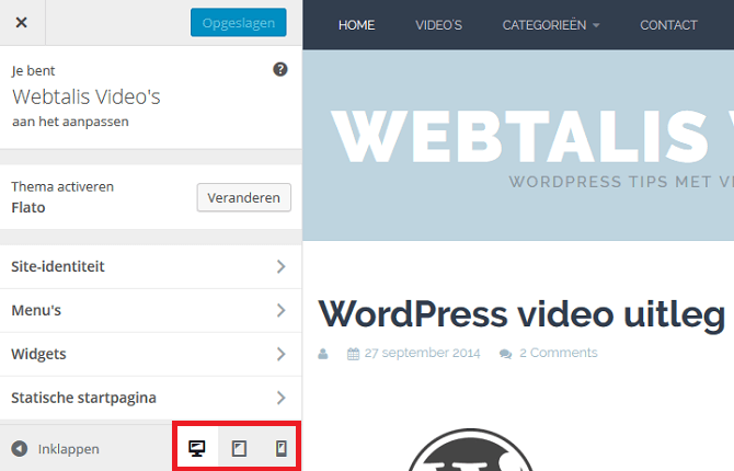 Verschillende devices in de WordPress Customizer