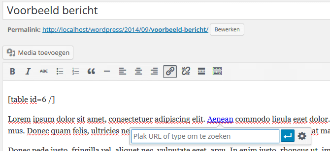 Interne links maken in WordPress met een shortcut