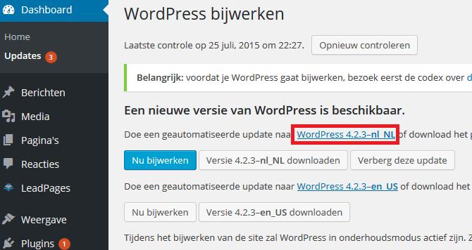 WordPress changelog bekijken