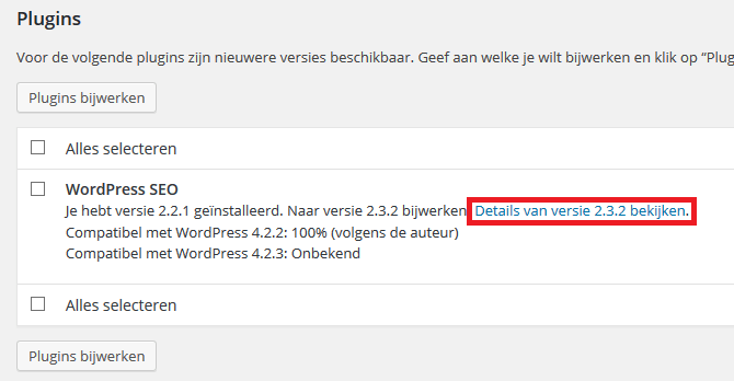 WordPress plugin changelog bekijken