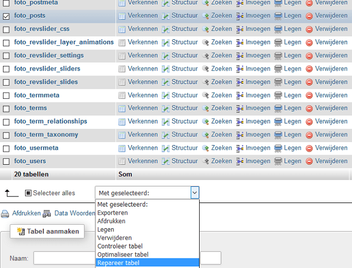 Repareer tabel phpMyAdmin
