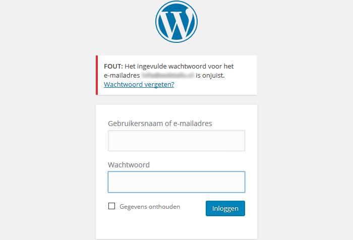 WordPress ingevulde wachtwoord onjuist
