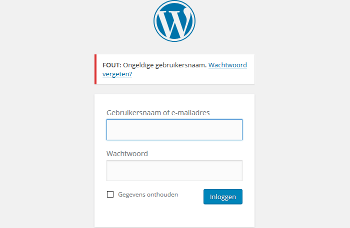 WordPress ongeldigde gebruikersnaam