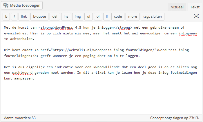 Tekst editor in WordPress