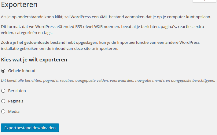 WordPress Extra -> Exporteren