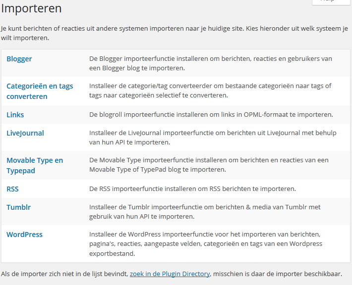 WordPress Extra -> Importeren